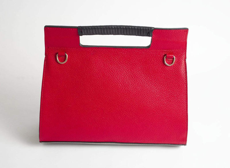 Italian Leather Leather Goods Adriana Red & Taupe Handbag