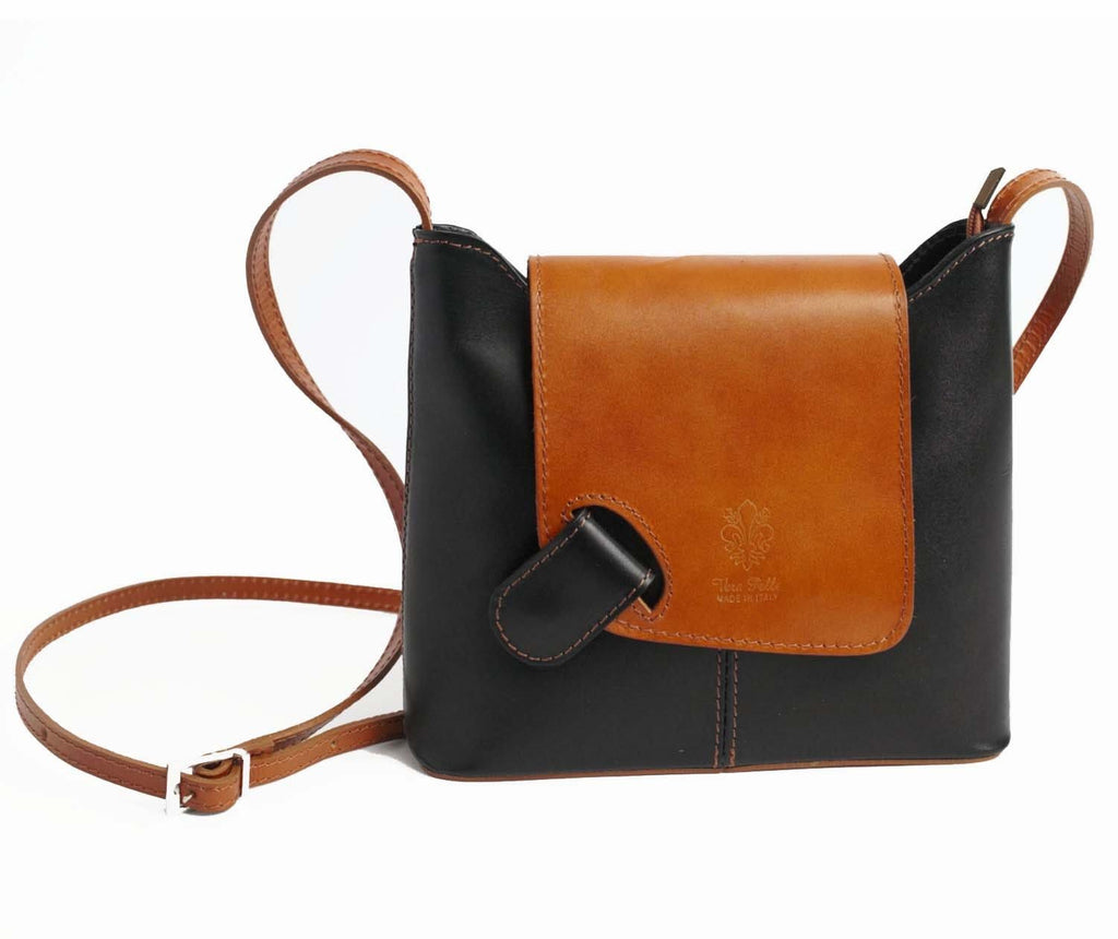 Italian Leather Leather Goods Cascino Black & Tan Cross Body