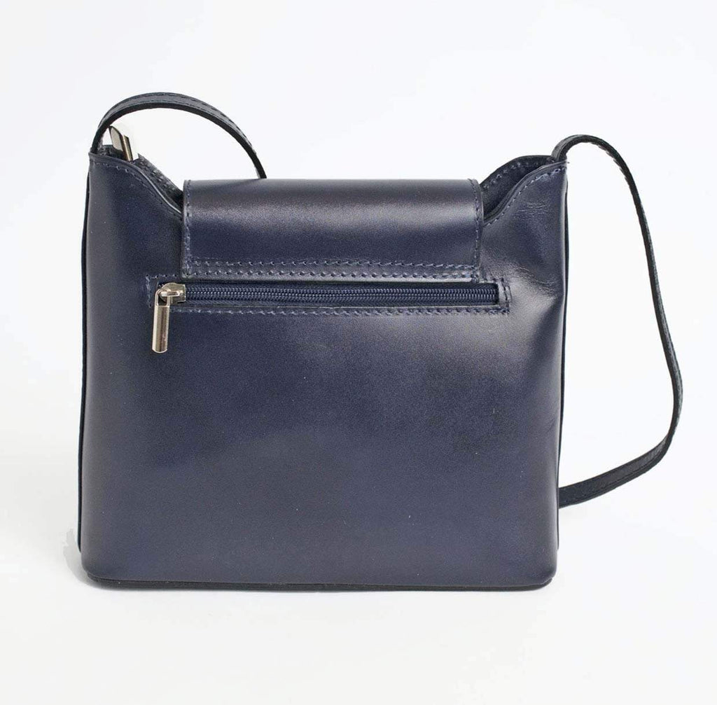 Italian Leather Leather Goods Cascino Navy Cross Body