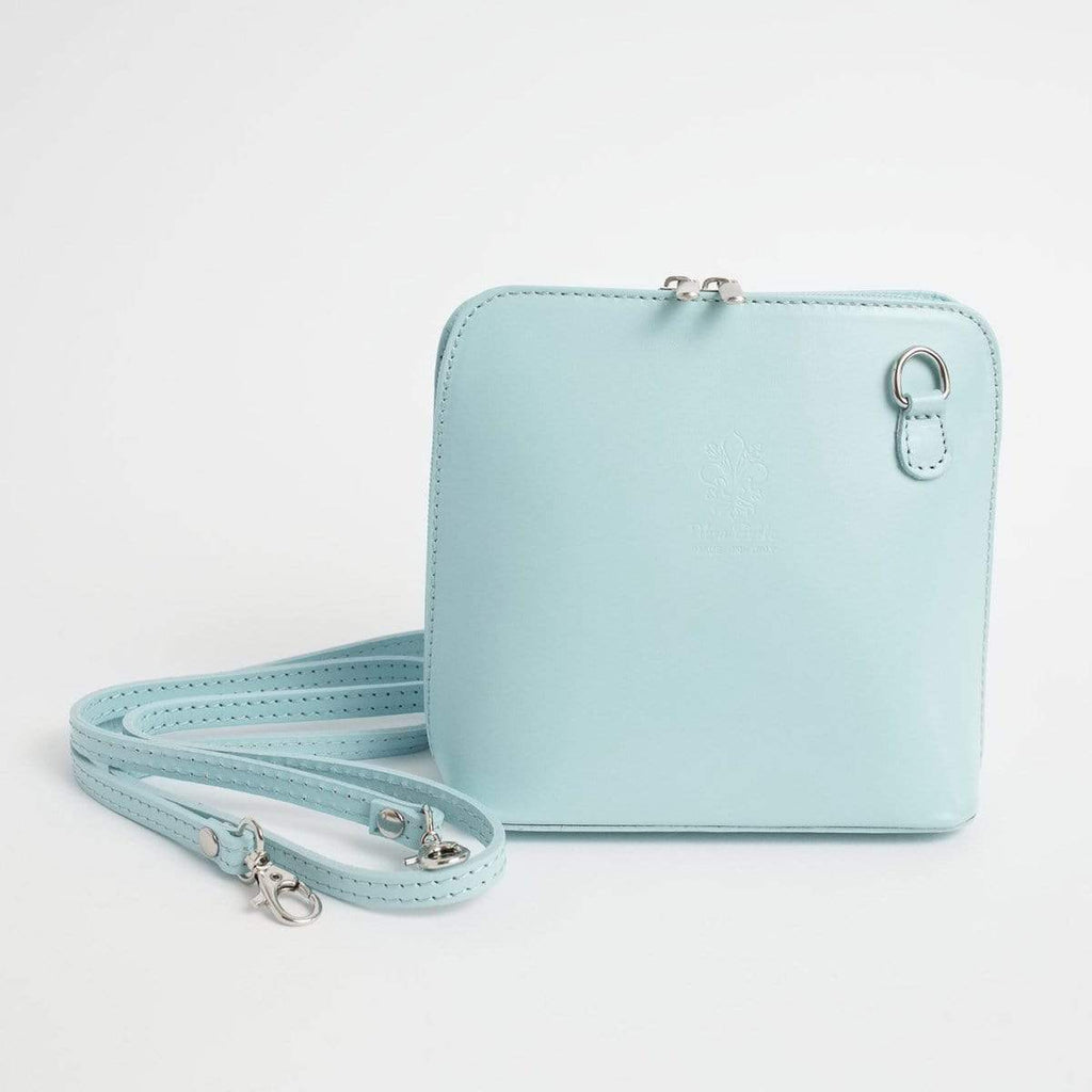 Italian Leather Leather Goods Celia Aqua Cross Body