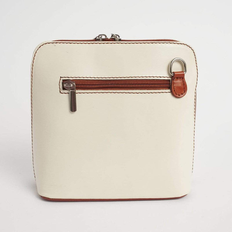 Italian Leather Leather Goods Celia Ivory/Tan Cross Body