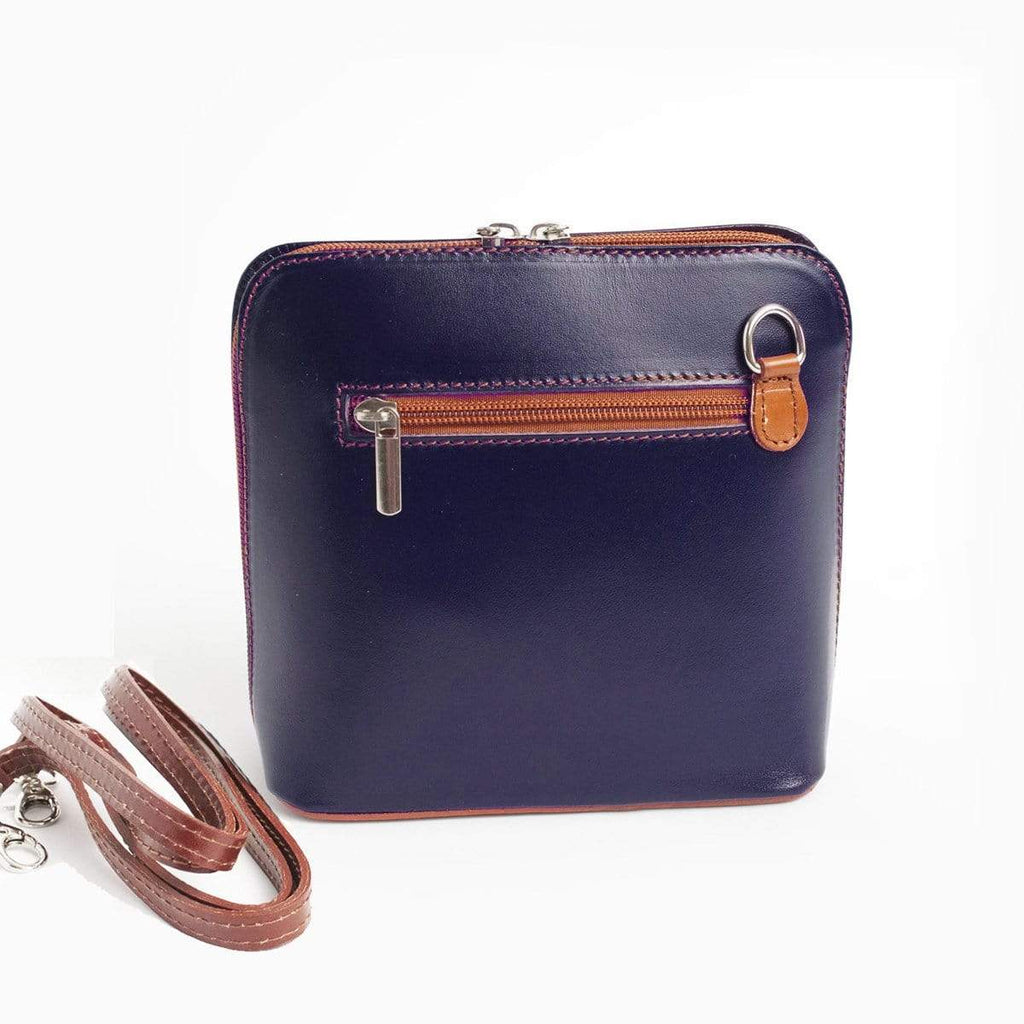 Italian Leather Leather Goods Celia Navy/Tan Cross Body