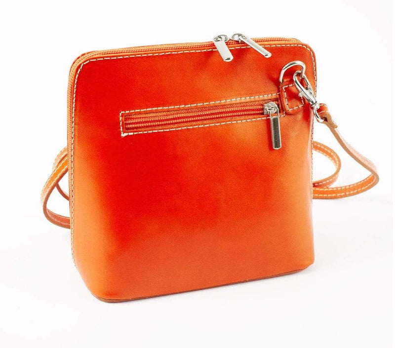 Italian Leather Leather Goods Celia Orange Cross Body