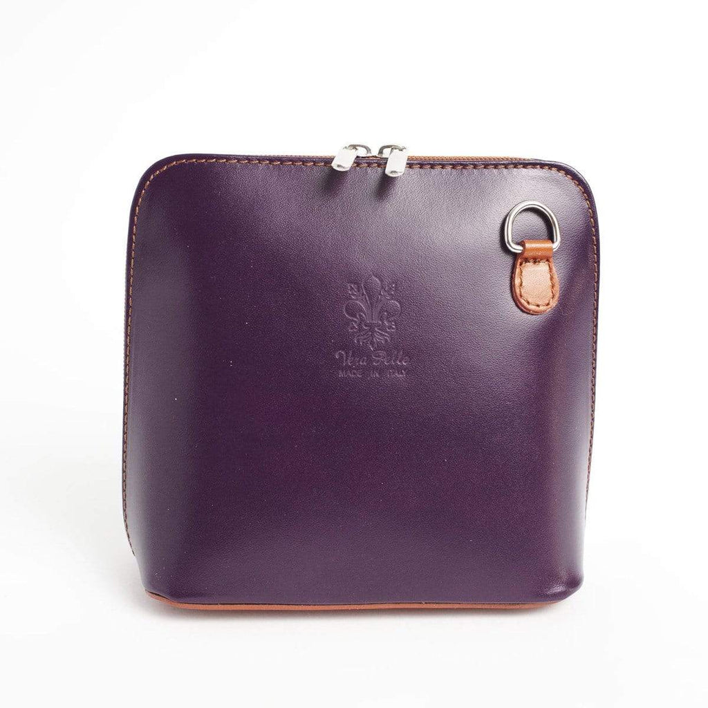 Italian Leather Leather Goods Celia Purple/Tan Cross Body