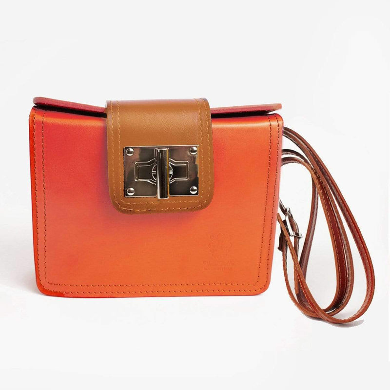 Italian Leather Leather Goods Lucia Orange Cross-Body Bag