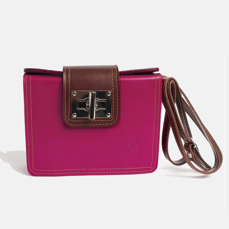 Italian Leather Leather Goods Lucia Pink Cross-Body Bag