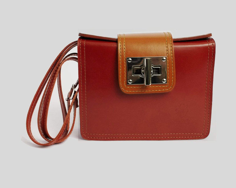 Italian Leather Leather Goods Lucia Red Cross-Body Bag