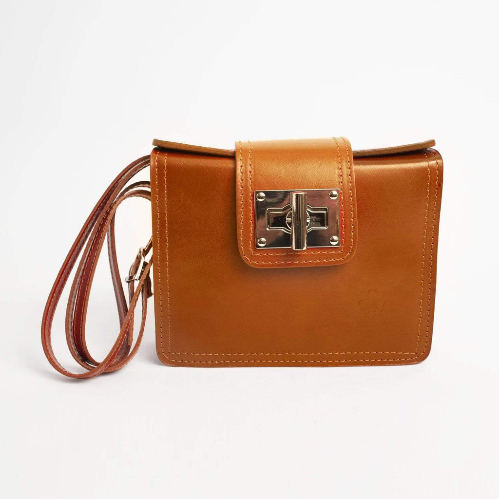 Italian Leather Leather Goods Lucia Tan Cross-Body Bag