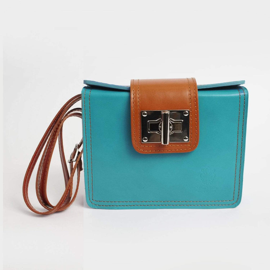 Italian Leather Leather Goods Lucia Turquoise Cross-Body Bag