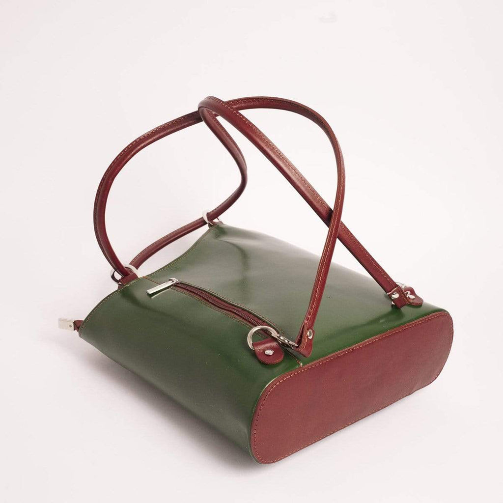 Italian Leather Leather Goods Musetta Green Shoulder Bag/Backpack