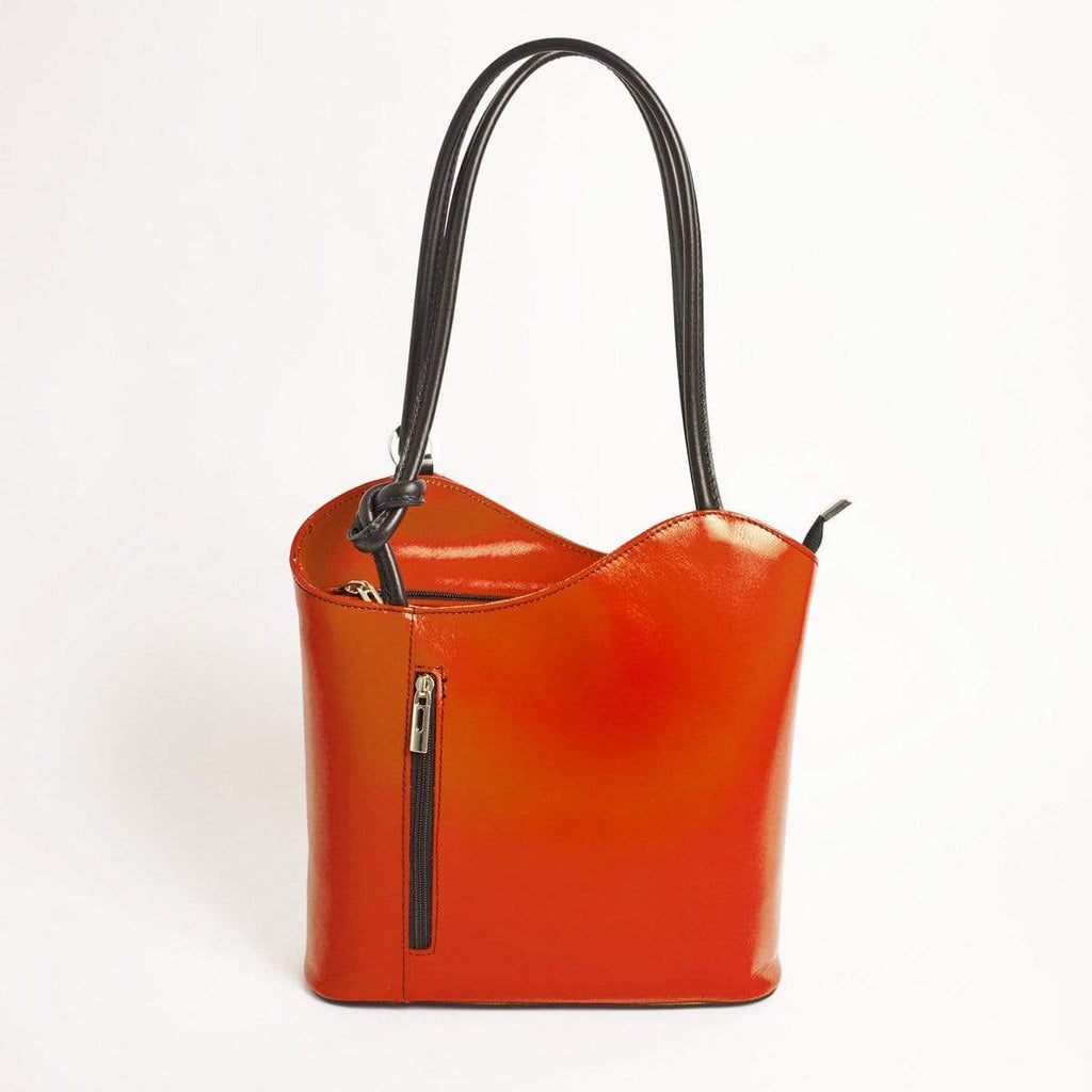 Italian Leather Leather Goods Musetta Orange Shoulder Bag/Backpack