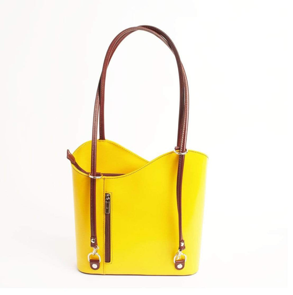 Italian Leather Leather Goods Musetta Yellow Shoulder Bag/Backpack