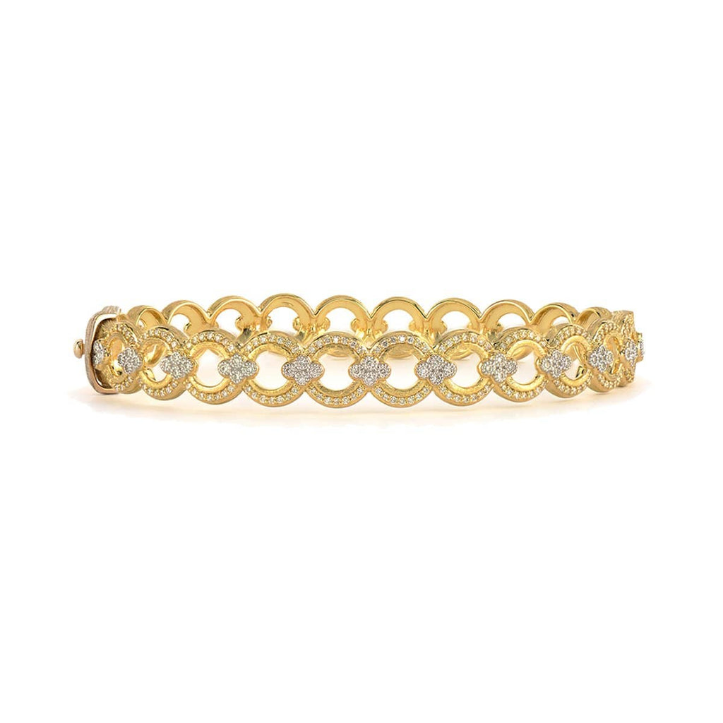 JudeFrances Bracelets Open Round Pave 18k Diamond Bangle