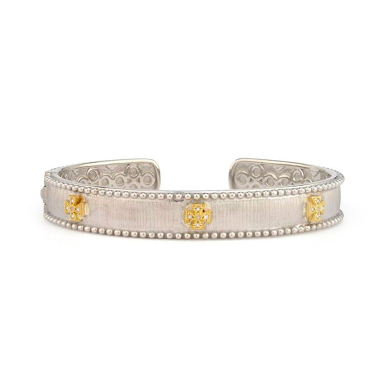 JudeFrances Bracelets Sterling Maltese Cuff with Gold & Diamonds