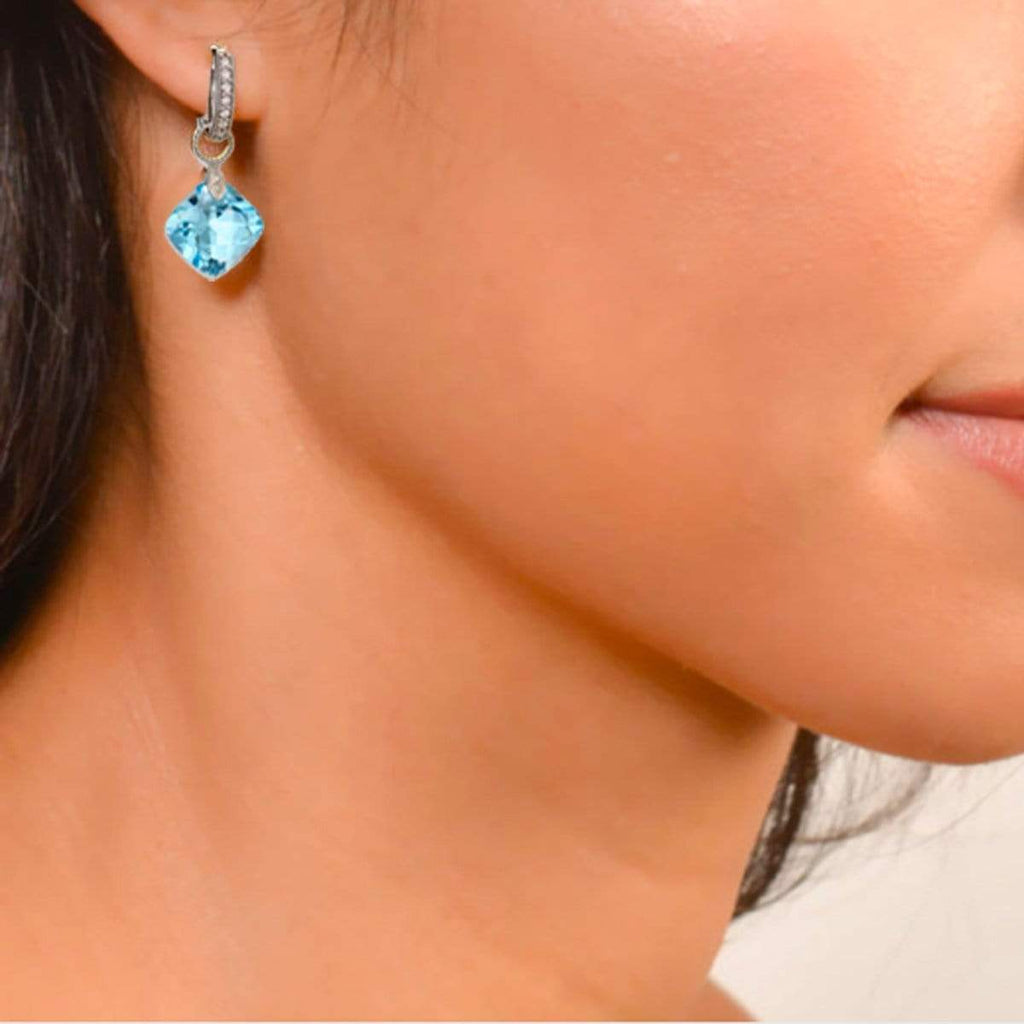 JudeFrances Earring Charms Blue Topaz & 18K Silhouette Earring Charms