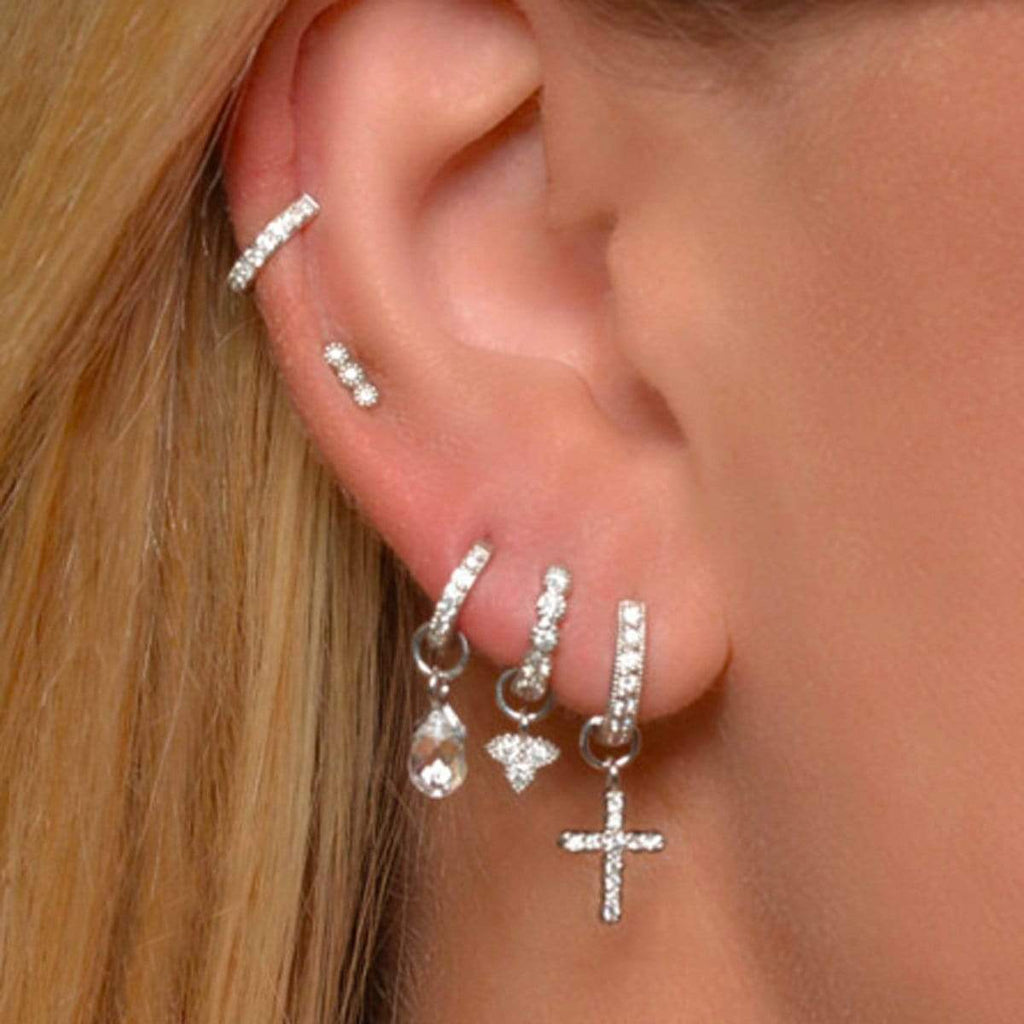 Diamond & 18k Petite Cross Earring Charms