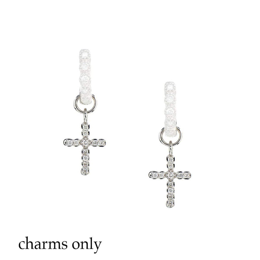 JudeFrances Earring Charms Diamond & 18k Petite Cross Earring Charms