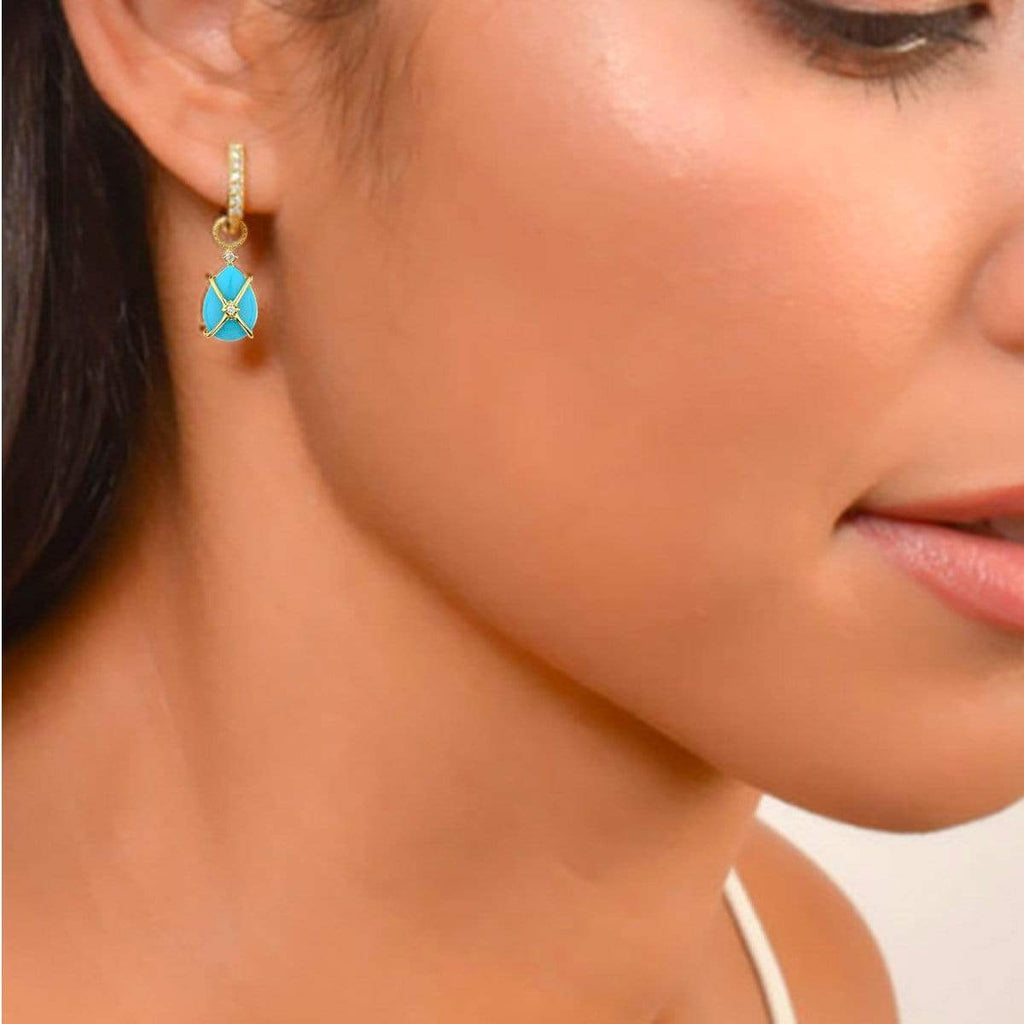 JudeFrances Earring Charms Turquoise 18K & Diamond Earring Charms