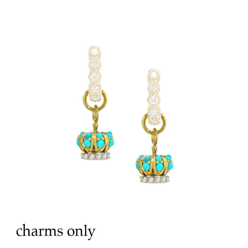 JudeFrances Earring Charms Turquoise, Diamond & 18K Crown Earring Charms