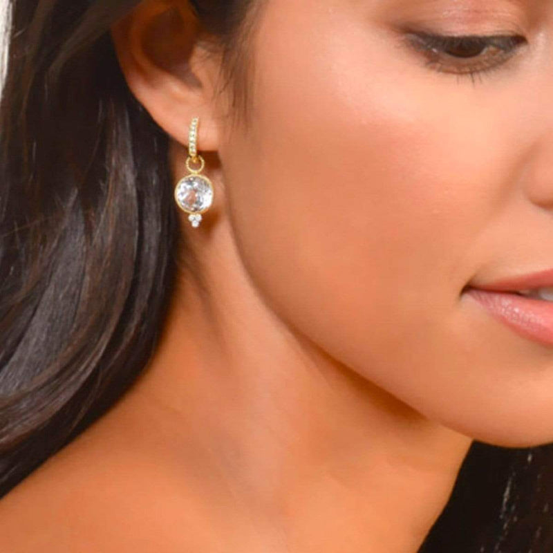 JudeFrances Earring Charms White Topaz, 18K, & Diamond Earring Charms