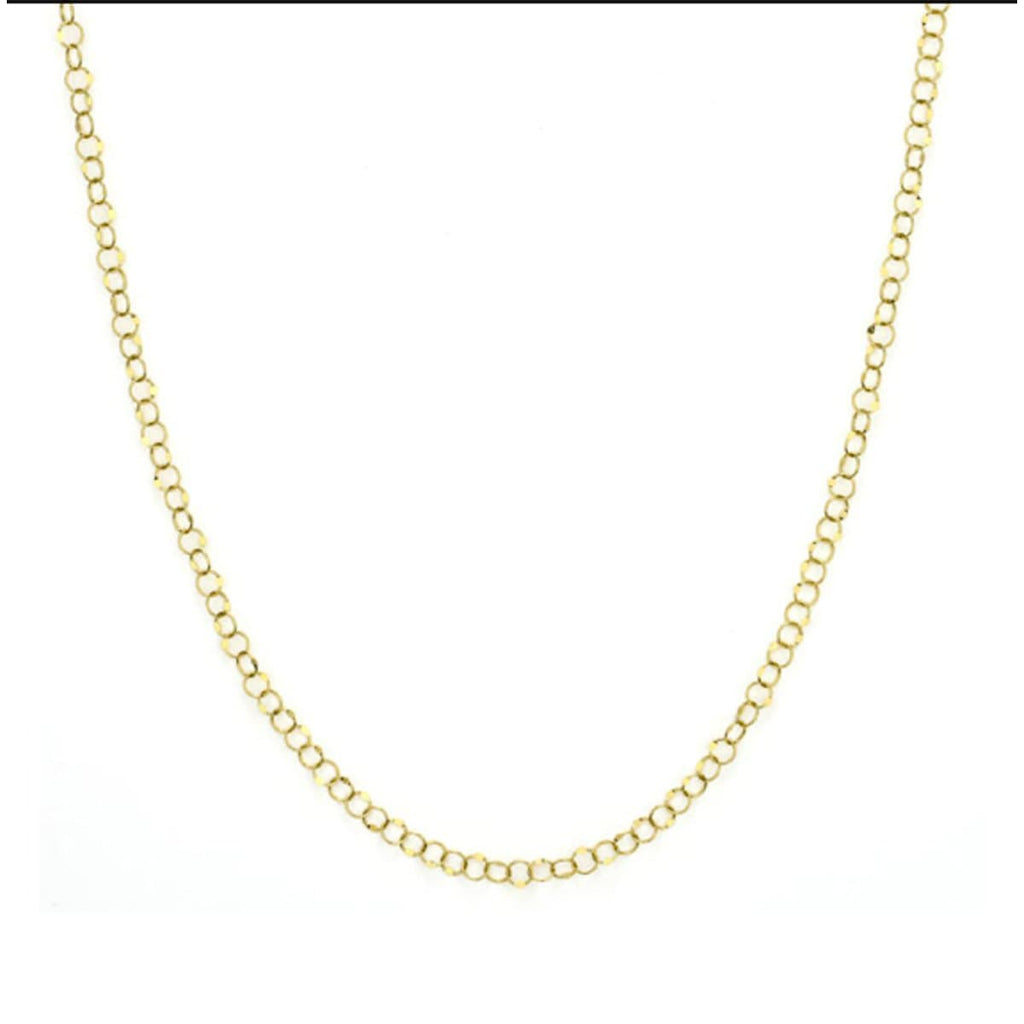 "JudeFrances Necklaces 18"" Hammered 18K Circle Chain"