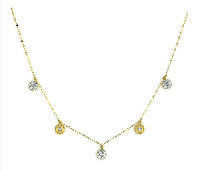 JudeFrances Necklaces Petite Dancing Pave Diamond Circle  Necklace