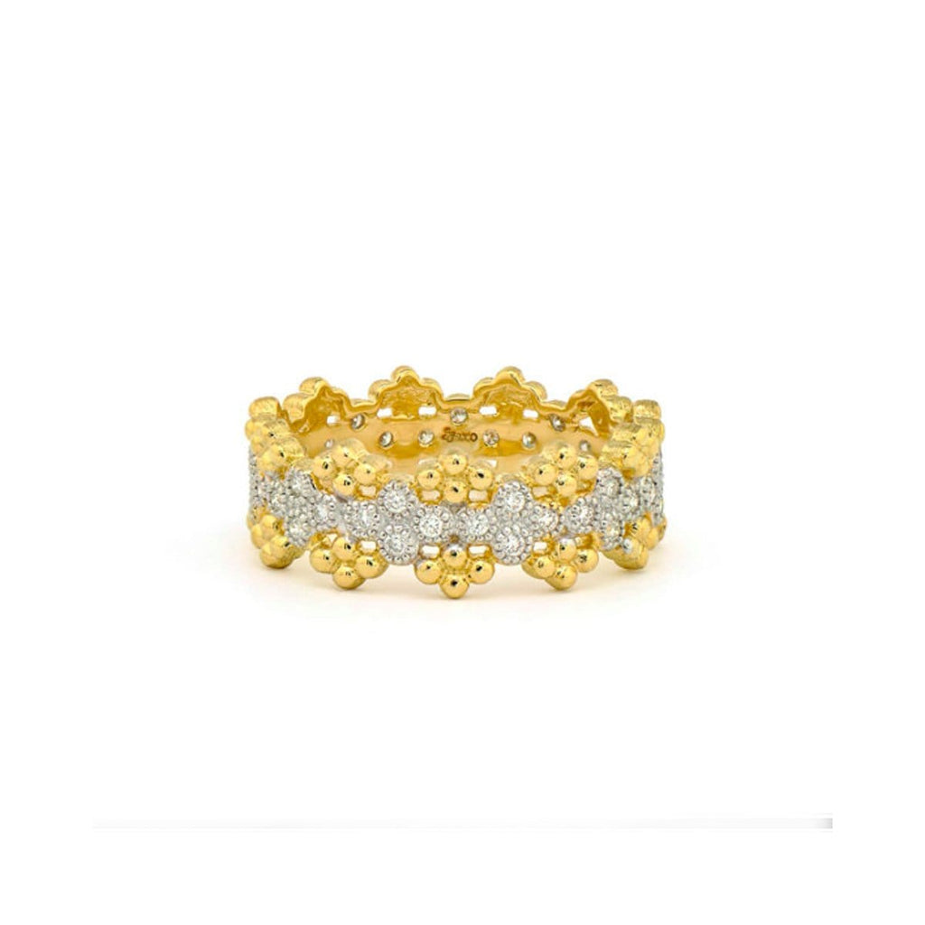 JudeFrances Rings 18K & Diamond Granulated Eternity Band