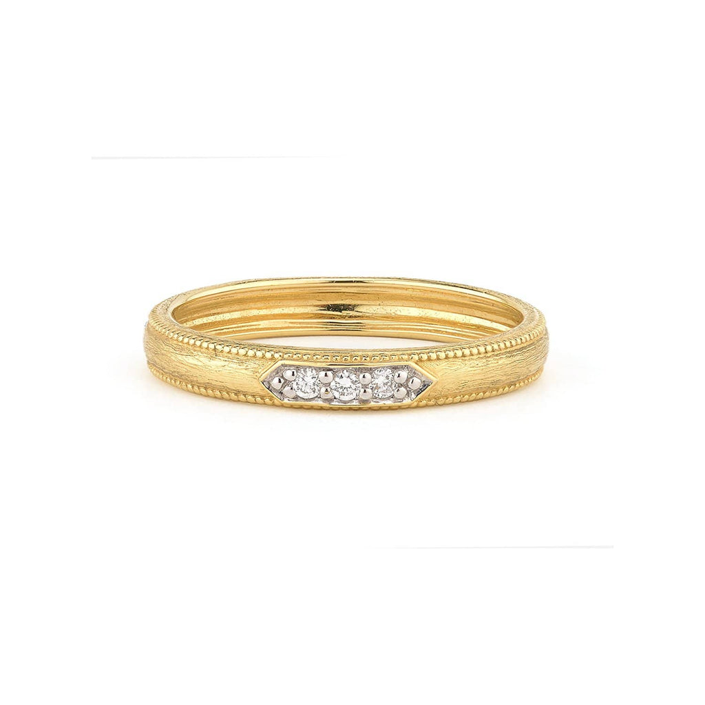JudeFrances Rings 3 Diamond Pave 18K Band