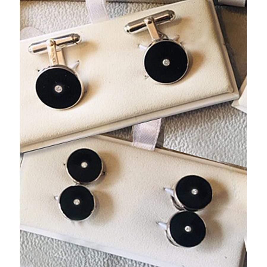 Limited Edition Cufflinks Enamel & White Sapphire Cufflink/Stud Set