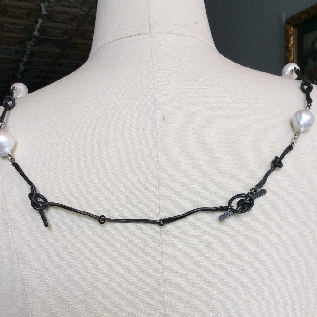 Limited Edition Necklaces Pearl & Oxidized Steel Knot Necklace