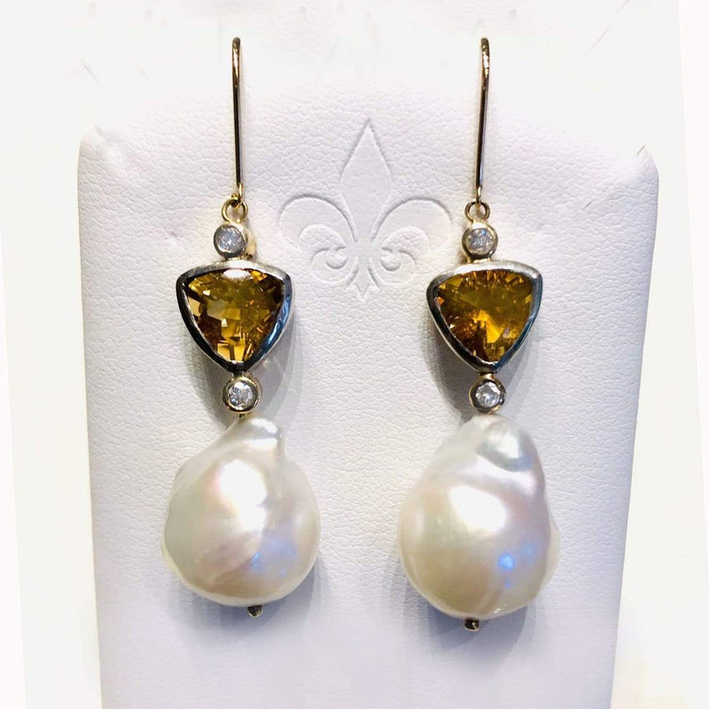 Lynne Goldman Earrings Baroque Pearl Citrine Diamond 18K/SS Earrings