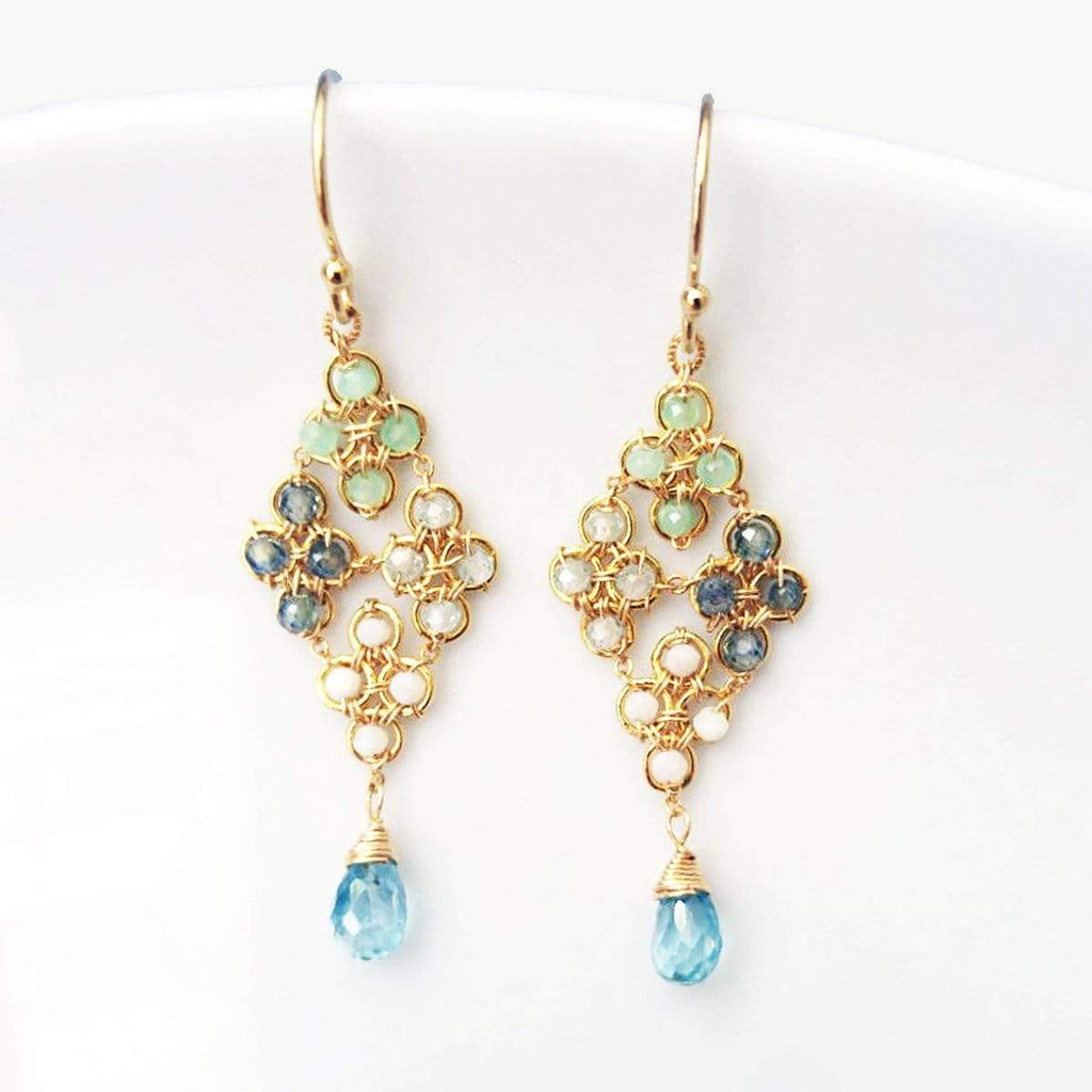Michelle Earrings Sky-Blue Woven Dangle