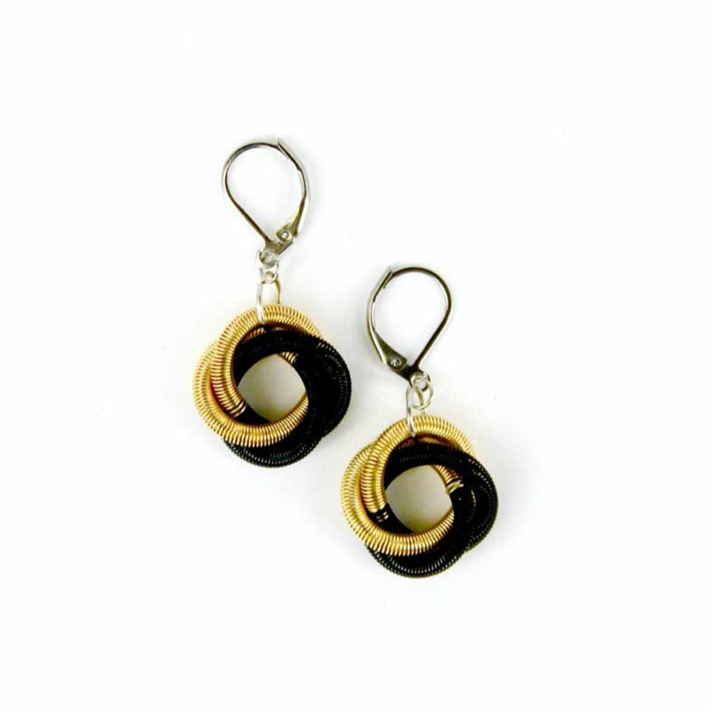 Sea Lily Earrings Black & Gold Floating Knot Earrings