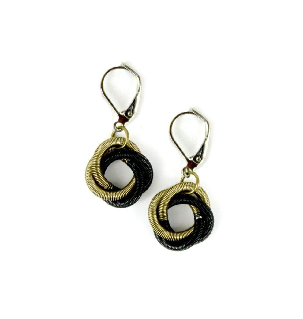 Sea Lily Earrings Bronze Black Floating Knot Earrings