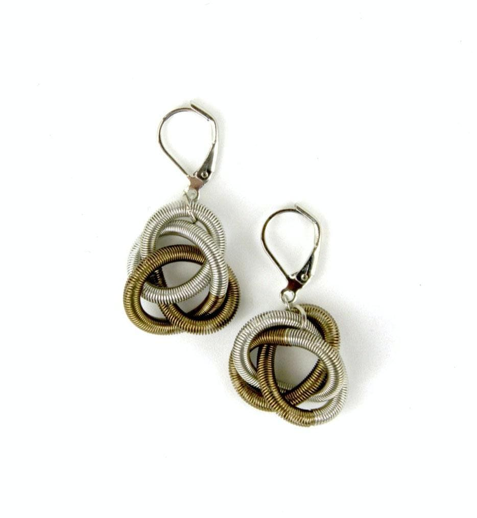 Sea Lily Earrings Silver & Bronze Twisted Loop Earrings