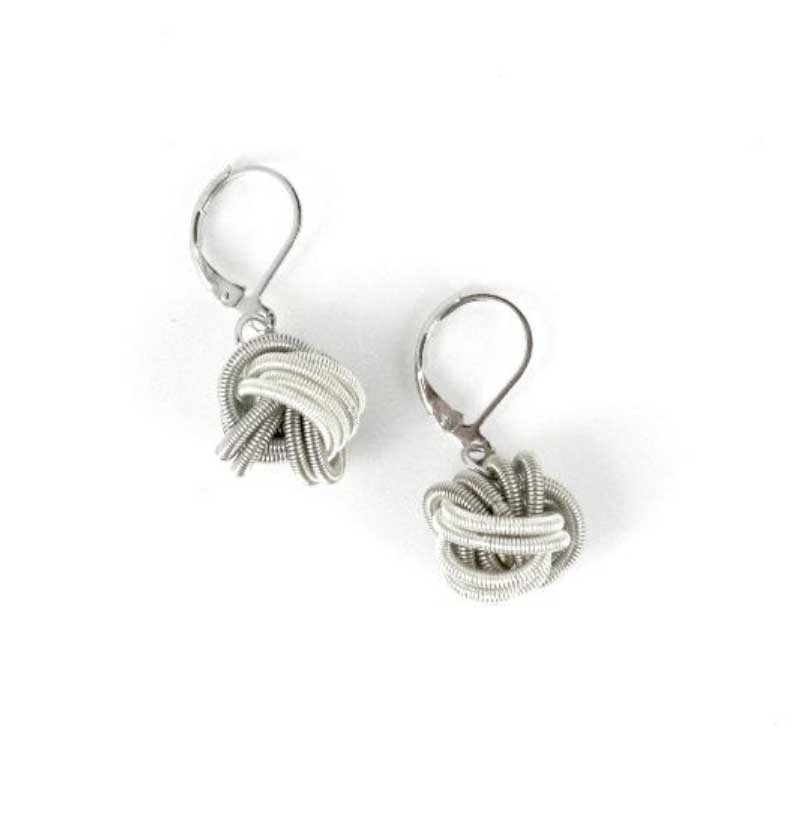 Sea Lily Earrings Silver & White Floating Knot Earrings