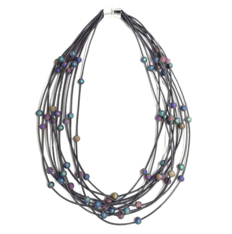Sea Lily Necklaces 10 Layer Piano Wire Slate Necklace w/ Iridescent Beads