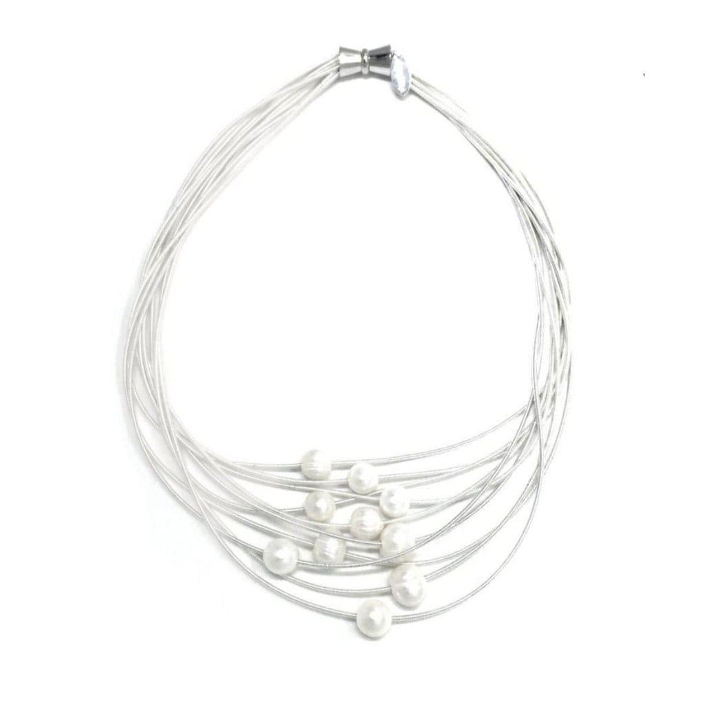 Sea Lily Necklaces Silver 10 Strand Piano Wire Necklace with White Fresh Water Pearls