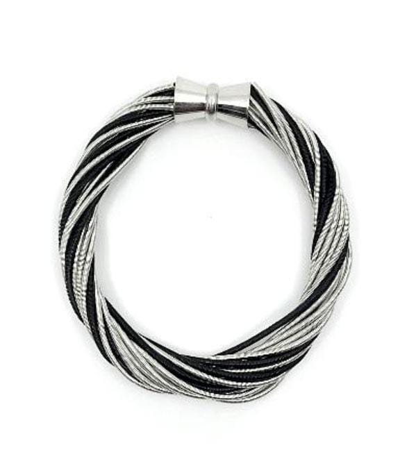 SeaLily Bracelets Silver and Black Magnetic Piano Wire Bracelet