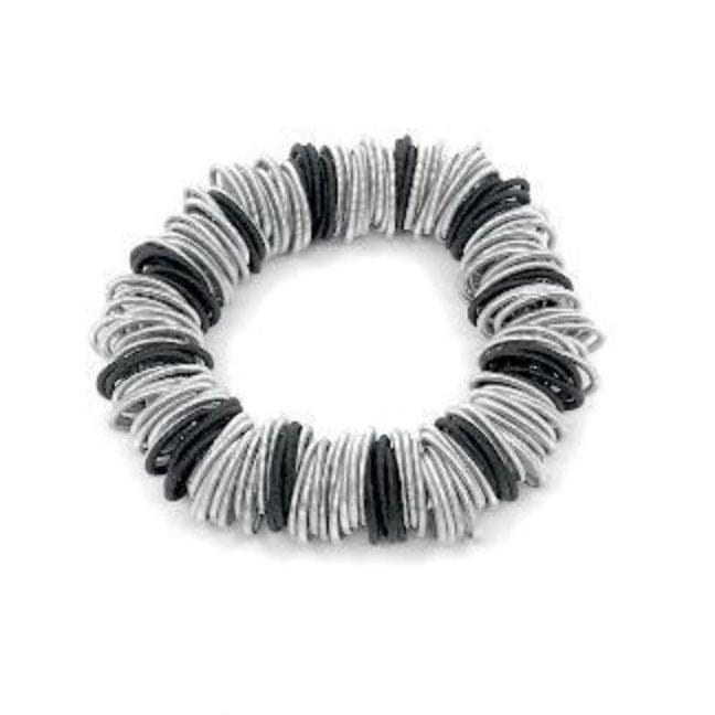 SeaLily Bracelets Silver and Black Spring Ring Bracelet