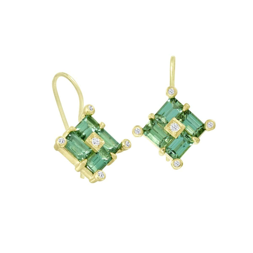 Suzy Landa Earrings Green Tourmaline Diamond 18K earrings