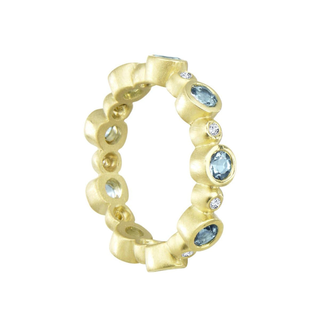 Suzy Landa Rings 18k Eternity Ring in Aquamarine & Diamonds