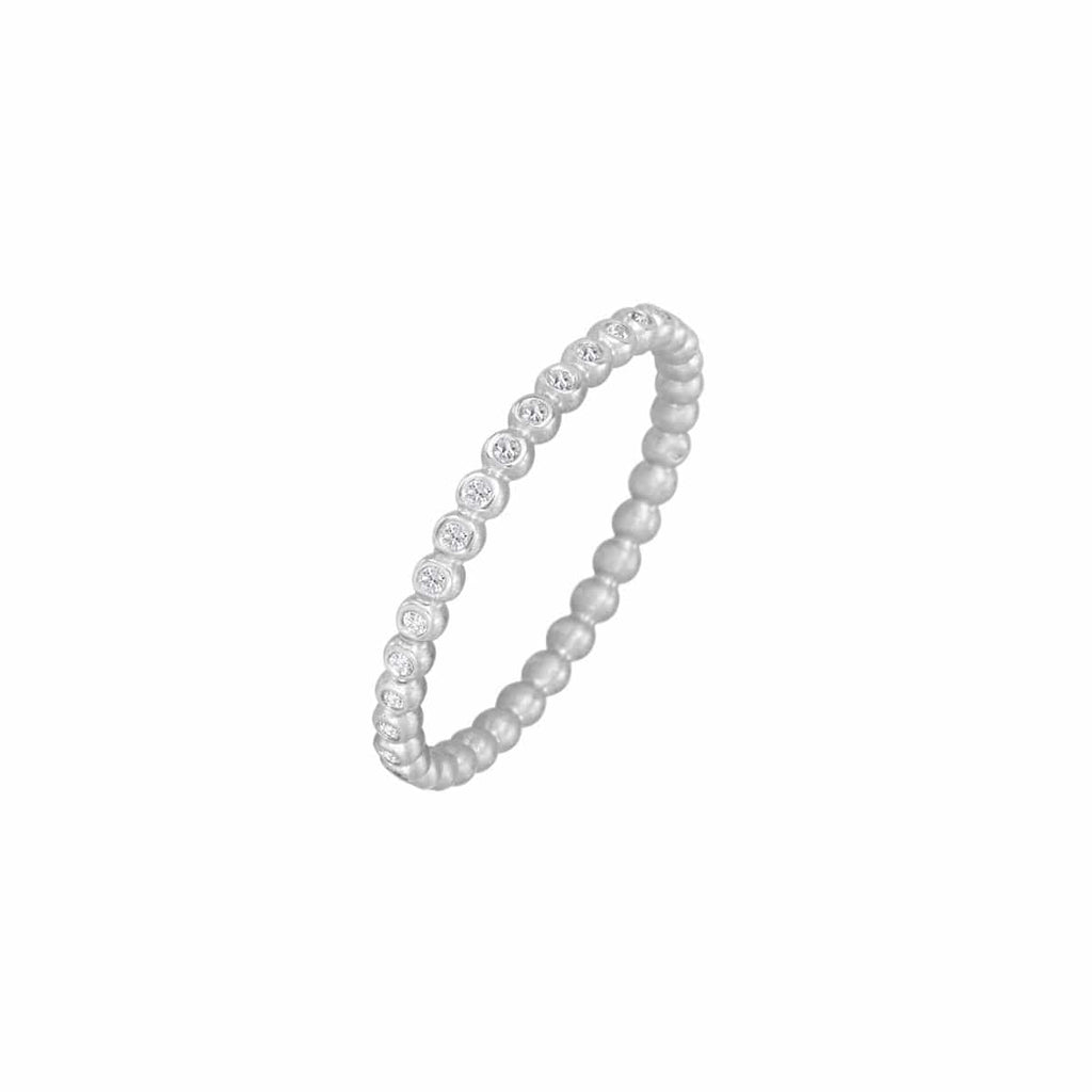 Suzy Landa Rings Diamond 18K White Gold Tiny Eternity Band
