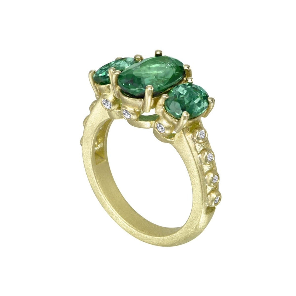 Suzy Landa Rings Green Triple Tourmaline & Diamond Ring