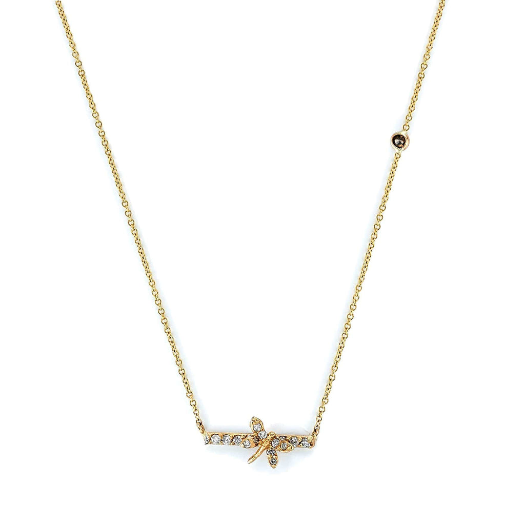 Tanya Farah Necklaces Dragonfly 18k Gold & Diamond Bar Necklace