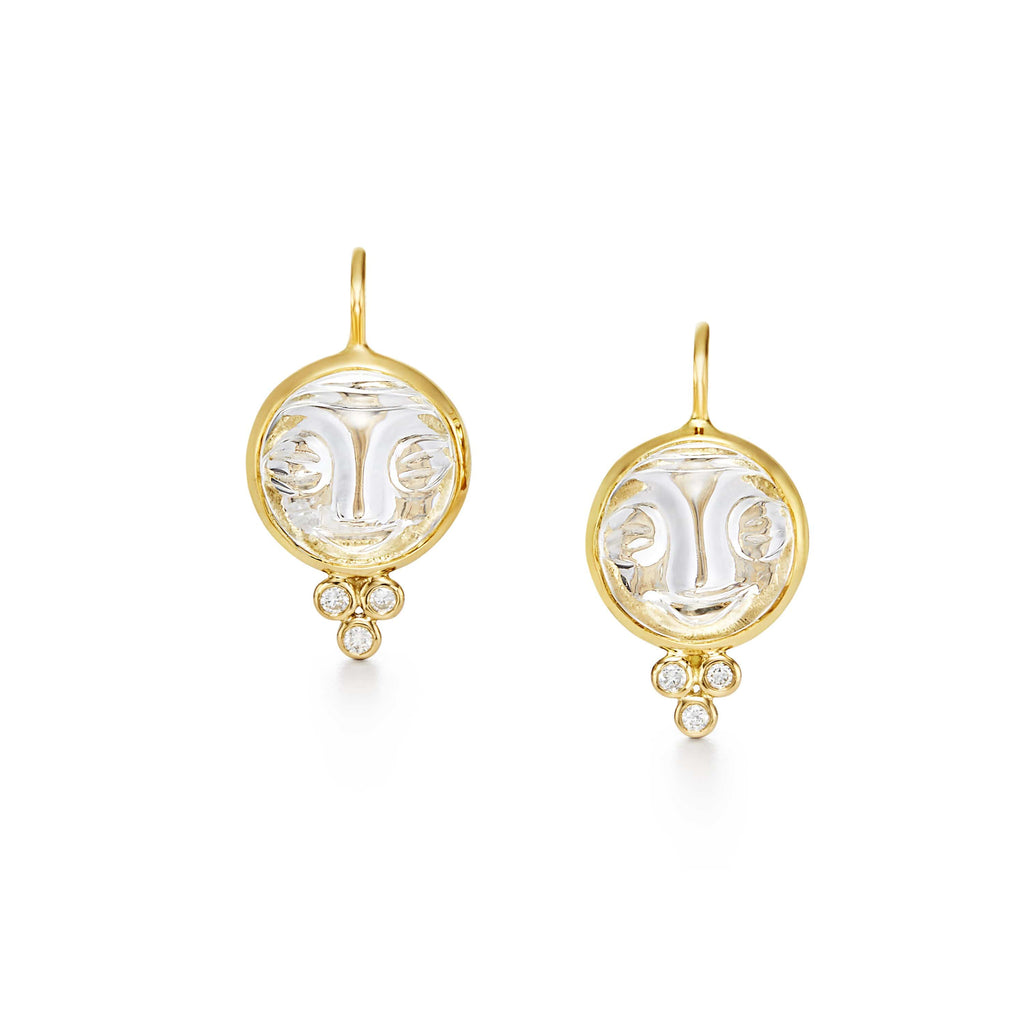 Temple St. Clair Earrings 18K Crystal Moonface Earrings