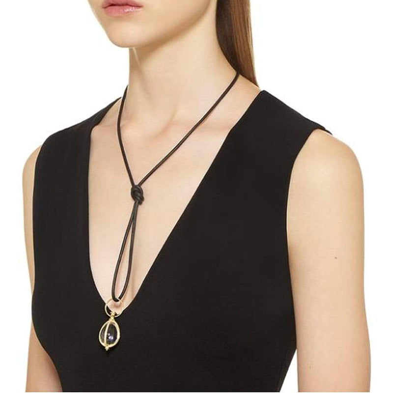 Temple St. Clair Necklaces 18K & Leather Black Cord