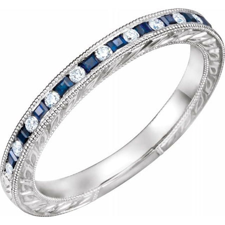 Sapphire & Diamond Wedding Band in 14K Gold