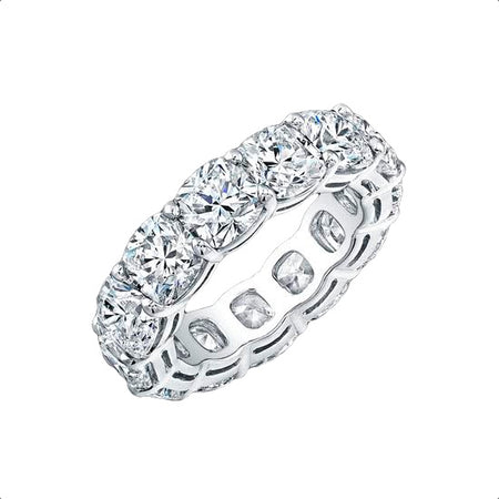 7.75 ct Cushion Cut Eternity Band in Platinum
