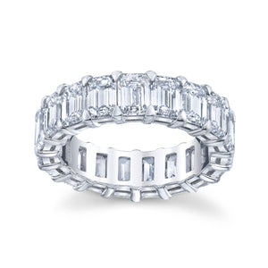 5.25 ct Emerald Cut Eternity Band in Platinum